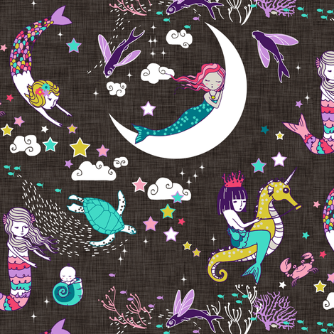 Mermaid Lullaby SMALL (Candy on black linen) fabric by nouveau_bohemian on Spoonflower - custom fabric