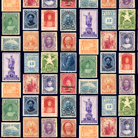 Hawaiian Postage Stamps Life Sized On Black Fabric By Weavingmajor Spoonflower
