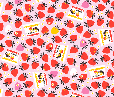 Strawberries and Cream fabric by cerigwen on Spoonflower - custom fabric