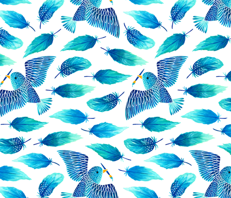 Birds painting their feathers blue fabric by heleen_vd_thillart on Spoonflower - custom fabric
