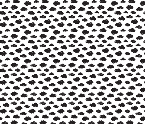 Black clouds black and white abstract geometric gender neutrals prints for kids Small fabric by littlesmilemakers on Spoonflower - custom fabric