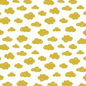 Yellow clouds monochrome and white abstract geometric gender neutrals prints for kids Small