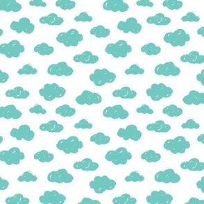 Bright blue clouds monochrome and white abstract geometric gender neutrals prints for kids Small
