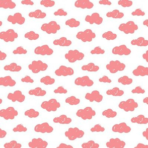 Pink clouds monochrome and white abstract geometric gender neutrals prints for kids Small