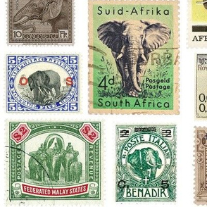 Elephant postage stamps - extra large