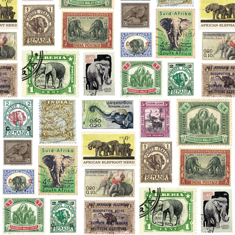 Elephant postage stamps - life sized on white fabric by weavingmajor on Spoonflower - custom fabric