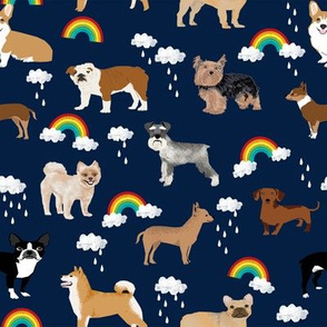 rainbows and dogs fabric mixed breeds dogs kawaii fabric - dark navy