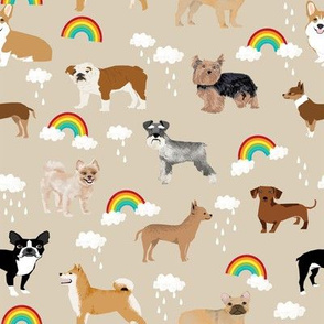 rainbows and dogs fabric mixed breeds dogs kawaii fabric - khaki