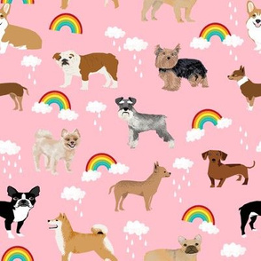 rainbows and dogs fabric mixed breeds dogs kawaii fabric - pink