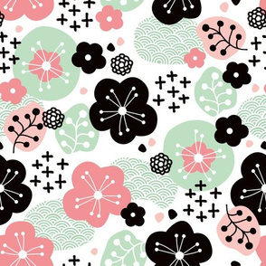 Japan cherry blossom flowers for print pink mint