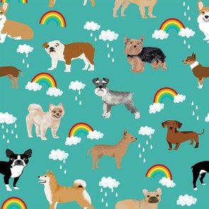 rainbows and dogs fabric mixed breeds dogs kawaii fabric - turquoise