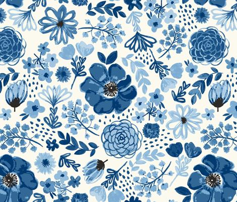GardenOfBlue fabric by bethschneider on Spoonflower - custom fabric