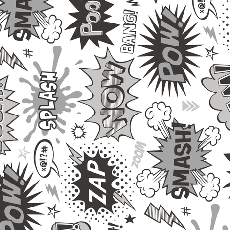 Superhero Comic Pop art Speech Bubbles Words Black & White Grey Rotated fabric by caja_design on Spoonflower - custom fabric