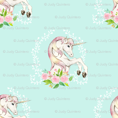 2 sweet floral unicorn more space light teal fabric for Space unicorn fabric
