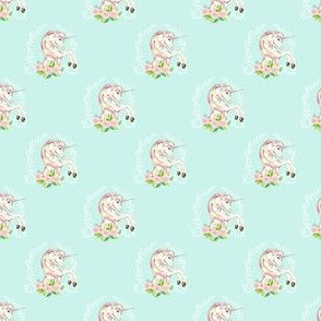 """2"""" Sweet Floral Unicorn - More Space -  Light Teal"""