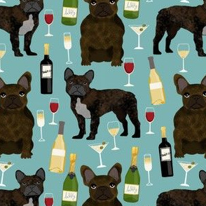 frenchie fabric with wine bottles, champagne, martinis cute french bulldog brindle design - gulf blue