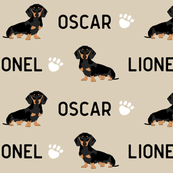 custom name doxie fabric cute dog design