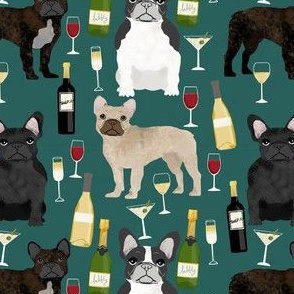french bulldogs and wine fabric champagne bubbly celebrate fabric frenchies design - eden green