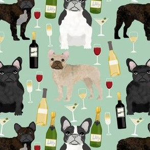 french bulldogs and wine fabric champagne bubbly celebrate fabric frenchies design - mint green