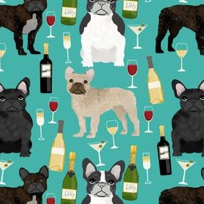 french bulldogs and wine fabric champagne bubbly celebrate fabric frenchies design - turquoise