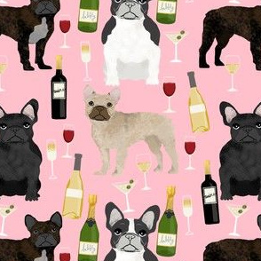 french bulldogs and wine fabric champagne bubbly celebrate fabric frenchies design - pink