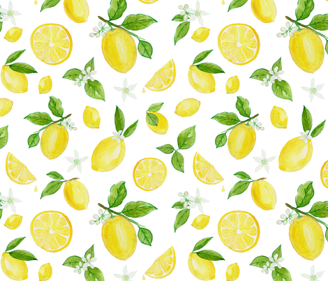 Lemons in Watercolor fabric by heather_anderson on Spoonflower - custom fabric