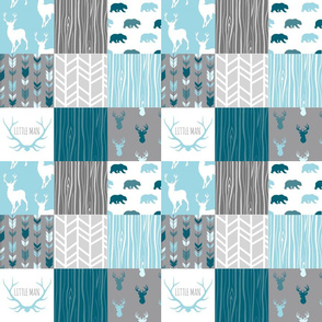 "3"" Square Cheater Quilt - Winslow Woodland - Blue, Teal, grey, deer, bear, arrows, wood"