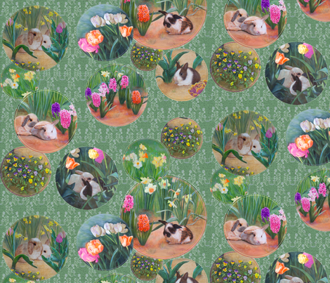 Spring Awakens Bunnies and Flowers fabric by nancy_lee_moran_designs on Spoonflower - custom fabric