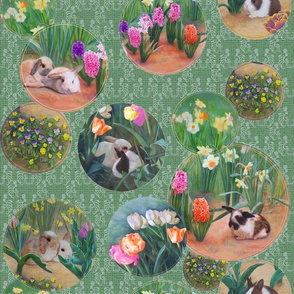 Spring Awakens Bunnies and Flowers