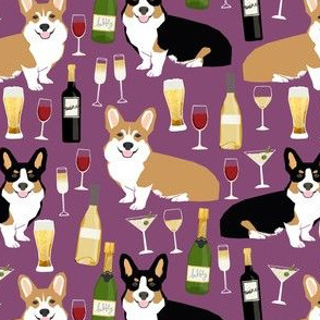 corgis and wine fabric champagne bubbly celebrate fabric corgi design - amethyst