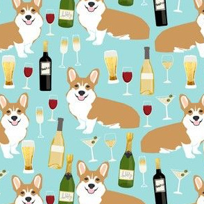 corgis and wine fabric champagne bubbly celebrate fabric corgi design - blue tint