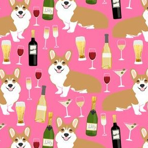 corgi_winecorgis and wine fabric champagne bubbly celebrate fabric corgi design - pink