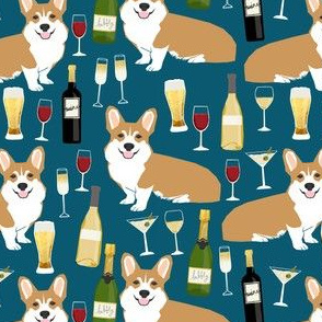 corgis and wine fabric champagne bubbly celebrate fabric corgi design - sapphire blue