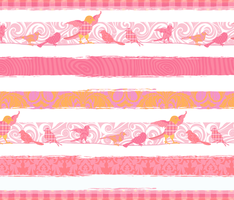 Birds & Stripes XL fabric by piper_&_paige on Spoonflower - custom fabric