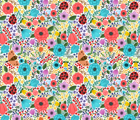 Spring Summer Flower Ladybug Blooms Blossoms fabric by khaus on Spoonflower - custom fabric