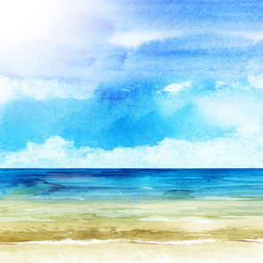Watercolor Beach Ocean Summer Sky
