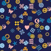 Match Game* (Warm Mix on Jackie Blue) || typography ornaments symbols pictographs toss starburst geometric star butterfly bird sun shamrock flower heart scatter