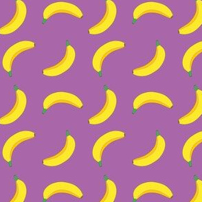 Bannana Cute Fruit Funny on Purple Background