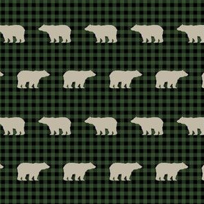 buffalo plaid bears tan and green hunter green outdoors green khaki