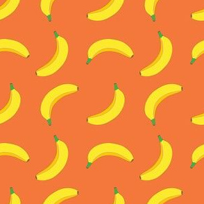 Bannana Cute Fruit Funny on Orange Background