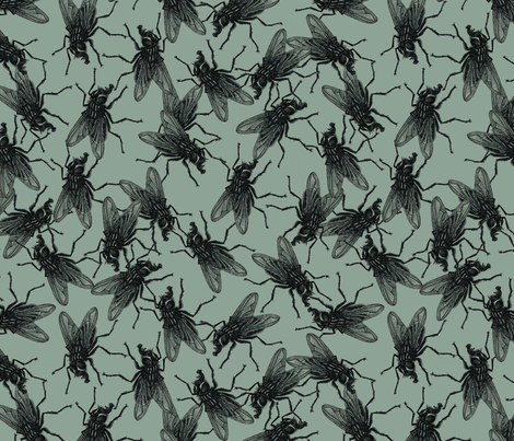 Flies military green fabric by susiprint on Spoonflower - custom fabric
