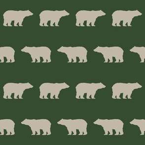 bear tan and green hunter green bears fabric