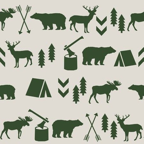 woodland camping tan and hunter green moose bear fabric