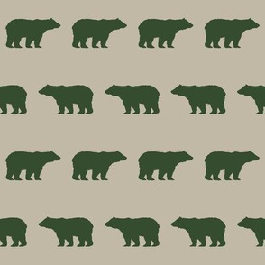 bear hunter green and tan outdoors camping fabric