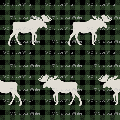 buffalo plaid moose fabric green and tan