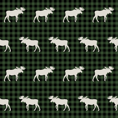 buffalo plaid moose fabric green and tan fabric by charlottewinter on Spoonflower - custom fabric