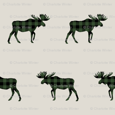 plaid moose fabric tan and hunter green outdoors hunting fabric