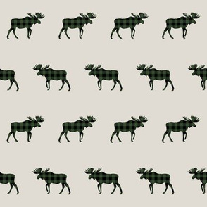 plaid moose fabric tan and hunter green outdoors hunting fabric