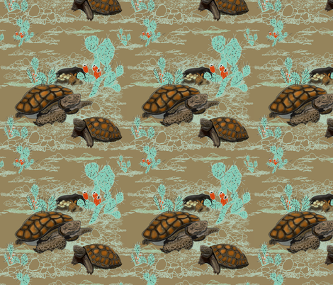Desert Tortoise in brown and Aqua by Salzanos fabric by salzanos on Spoonflower - custom fabric