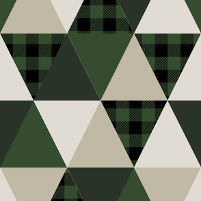 triangle quilt fabric hunter green and tan fabric